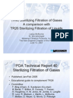 TR40 Sterilizing Filtration of Gases a Comparison WithTR26 Sterilizing Filtration of Liquids