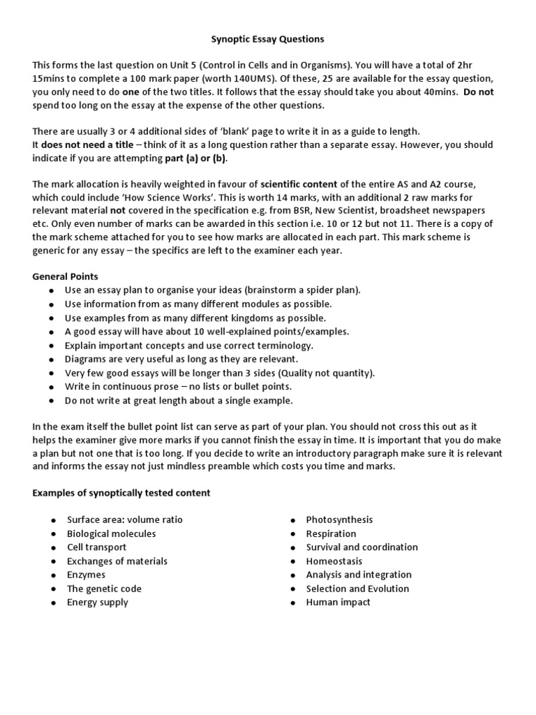 Samples Of Persuasive Essays For High School Students Aqa Synoptic Essay Notes Life Organisms Essay In English Language also Examples Of High School Essays General Biology Essay Questions  Mistyhamel Definition Essay Paper