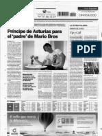 Recortes en la prensa sobre el premio Principe de Asturias a Shigeru Miyamoto