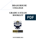 Grade 11 Exam Booklet Nov 2011