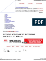 Opening and Closing Ranks for Courses _ Iit Jee-2011