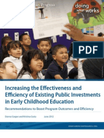 Increasing the Effectiveness and Efficiency of Existing Public Investments in Early Childhood Education