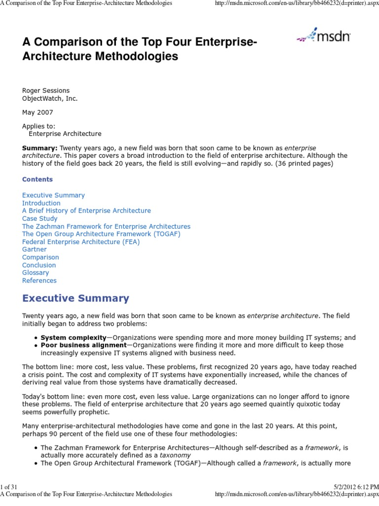 A Comparison Of The Top Four Enterprise Architecture Methodologies | Enterprise  Architecture | Business Process