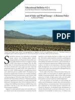 Educational Bulletin #12-1 Solar and Wind Energy