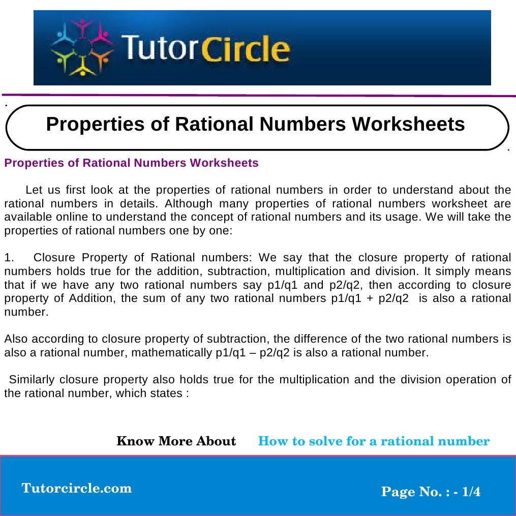 Worksheets Properties Of Numbers Worksheet properties of rational numbers worksheets multiplication number