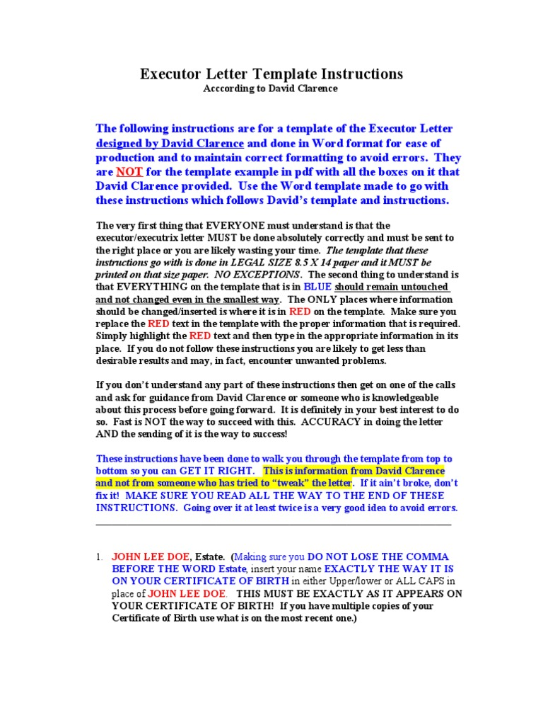 Executor Letter Instructions   Executor   Mail