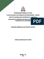 FASES DA EDUCAÇÃO NO PARA - RAIMUNDA BENEHILDA DOS SANTOS GASPAR