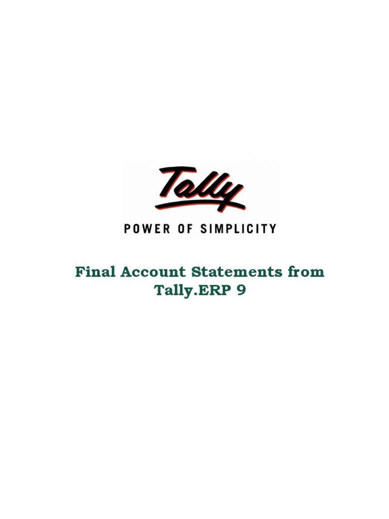 Final Account Statements From Tally.erp 9 | Tally Downloads | Tally AMC |  Tally.NET Services | Income Statement | Enterprise Resource Planning