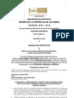 Plenaria Senado - Orden del día - 29 de mayo de 2012
