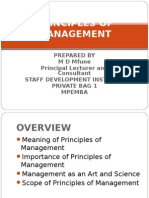 m d Mfune - Principles of Management
