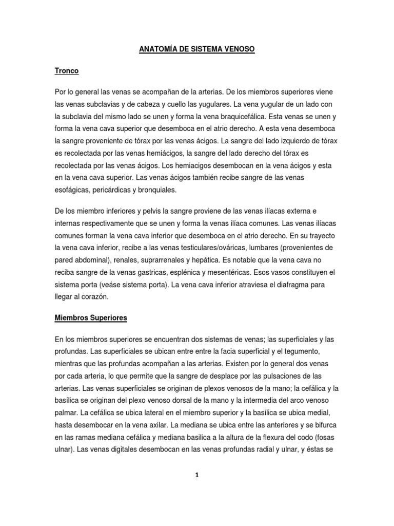 ANATOMÍA DE SISTEMA VENOSO