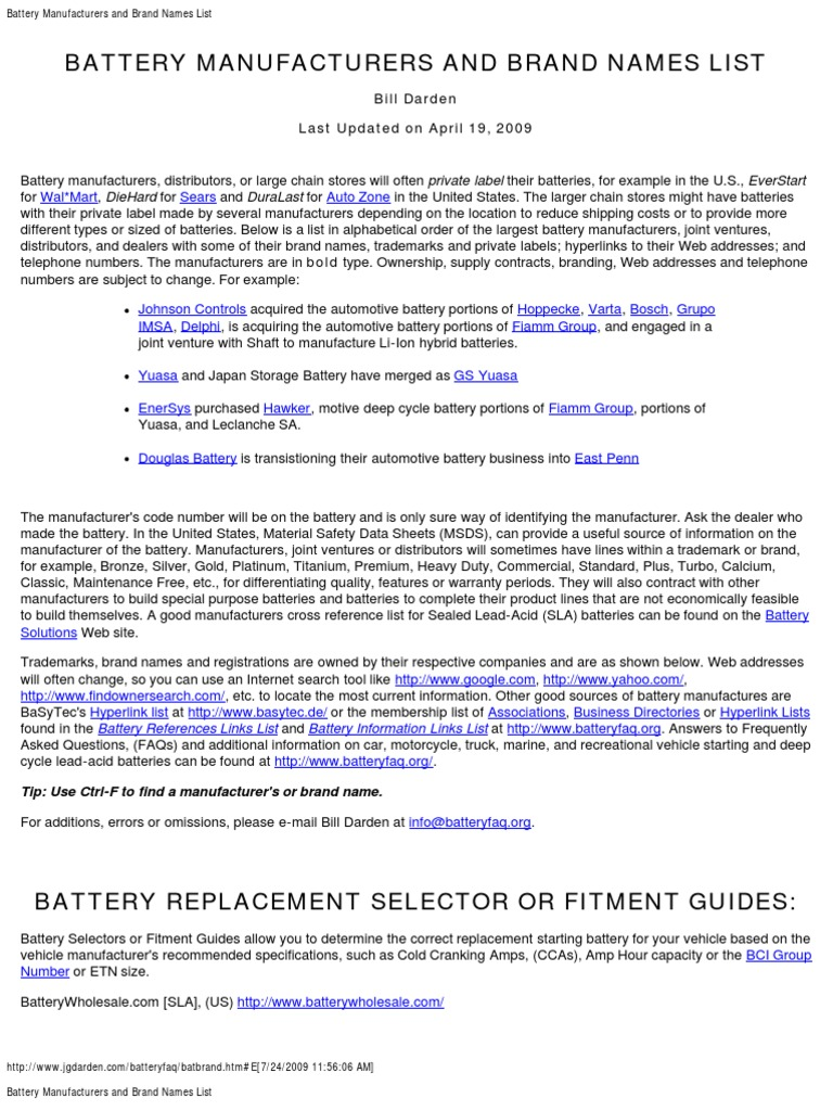 battery_manufacturers_and_brand_names_list pdf | Automobiles