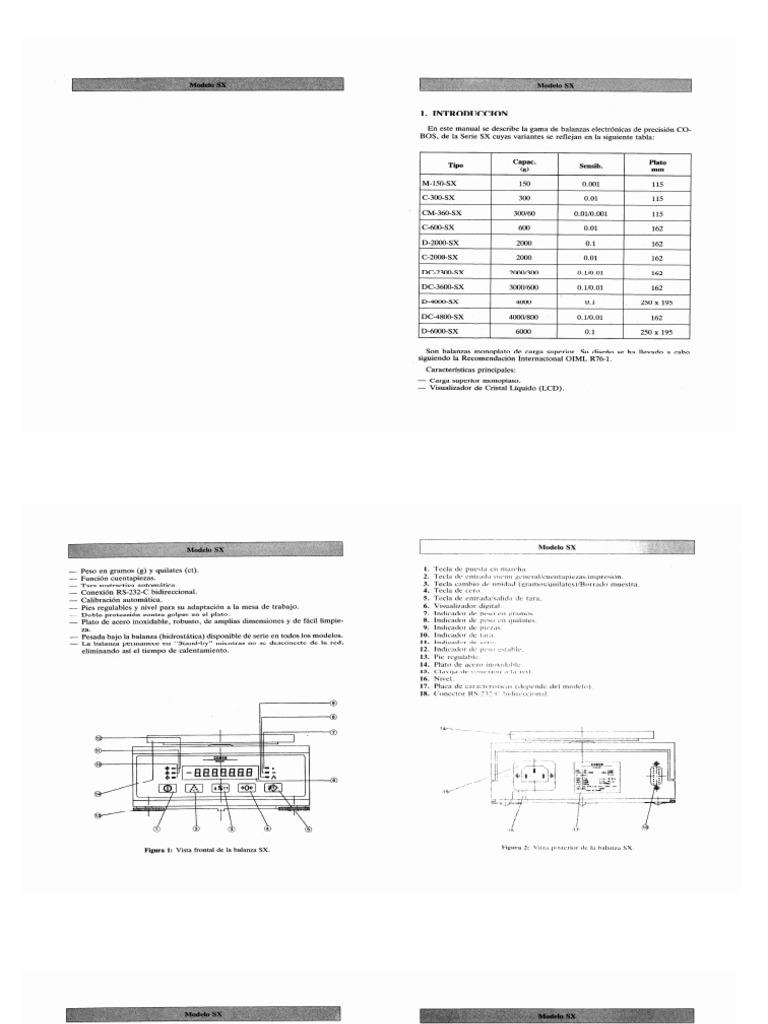 Manual de Usuario Balanza de Precision Serie Sx