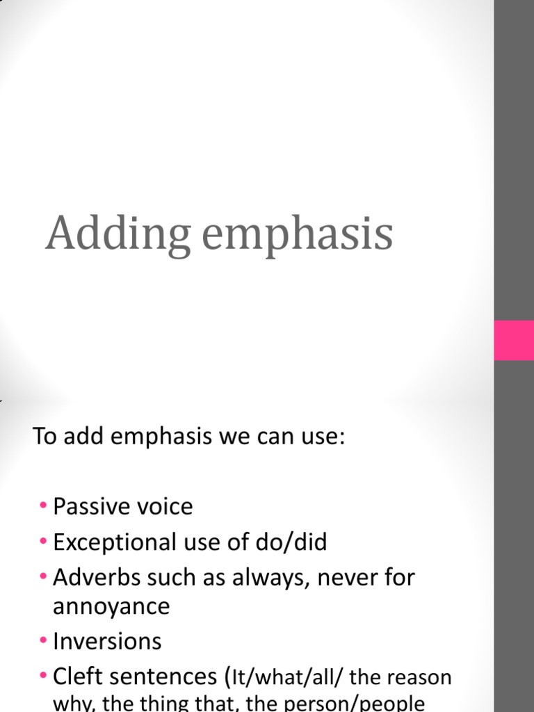 how to use emphasis