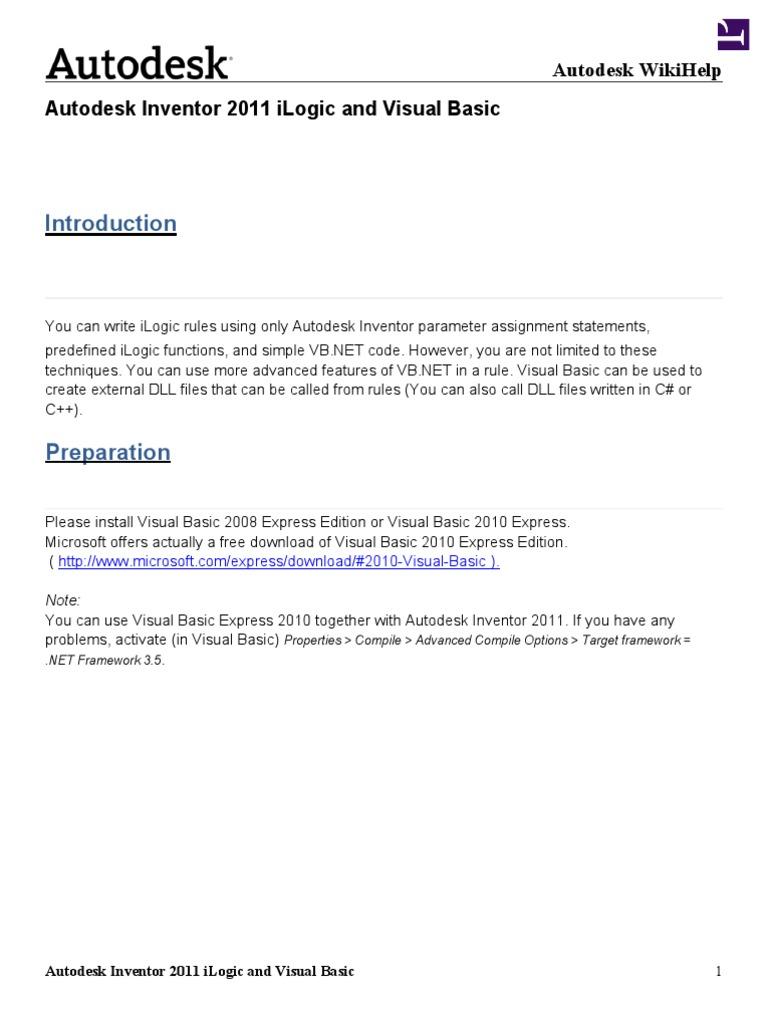 Autodesk Inventor 2011 iLogic and Visual Basic | Visual Basic  Net