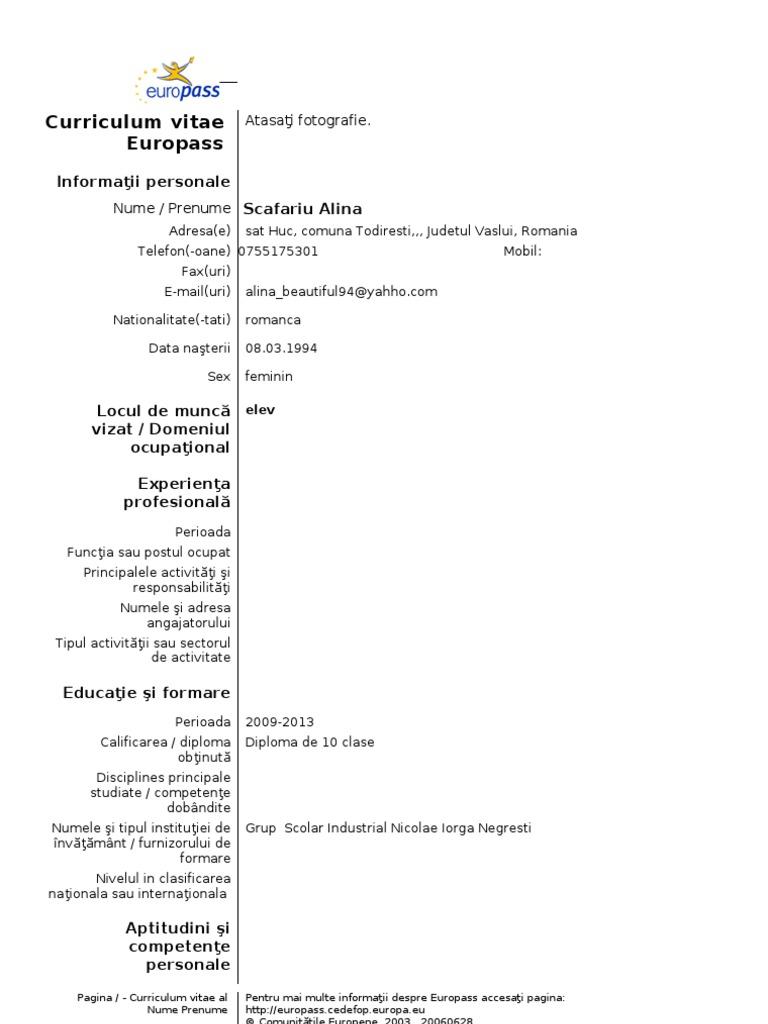 Model cv curriculum vitae european romana yelopaper Image collections