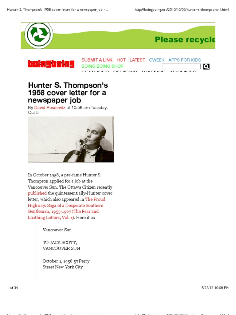 Hunter s thompsons 1958 cover letter for a newspaper job boing hunter s thompsons 1958 cover letter for a newspaper job boing boing madrichimfo Choice Image