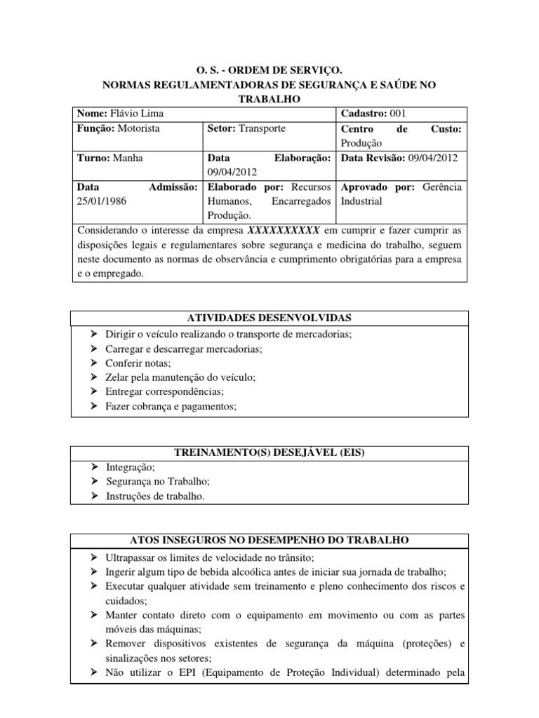 Ordem De Servi 231 O Para Motorista De Onibus