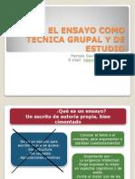 El Ensayo Como Tecnica Grupal y de Estudio