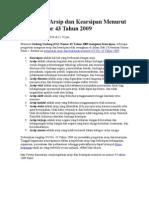 Pengertian Arsip Dan Kearsipan Menurut UU Nomor 43 Tahun 2009