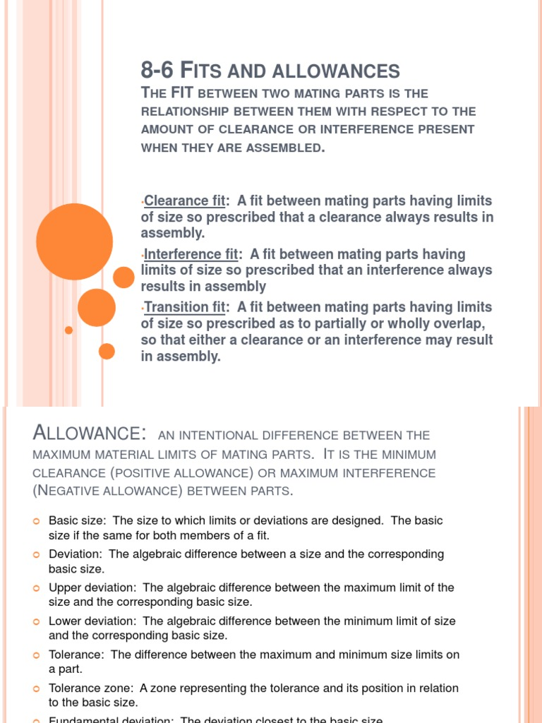 8-6 Fits and Allowances   Engineering Tolerance   Production