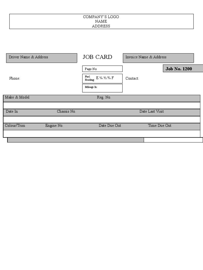 sample auto workshop job card