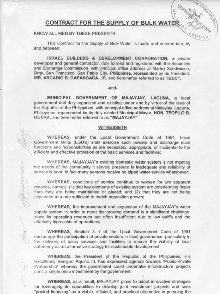 Certified True Copy Of Contract For The Supply Of Bulk Water Bet. Majayjay  And IBDC  Basic Service Contract