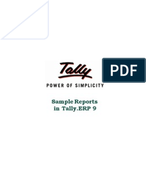Sample Reports in Tally erp 9 | Tally Shopper | Access to