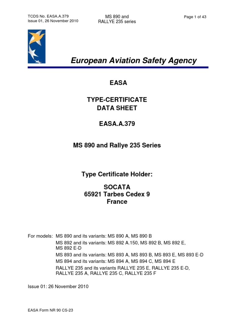 Easa Tcds A379ms890andrallye235series 01 261120101