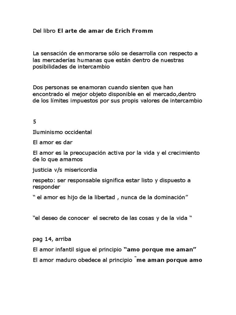 Del Libro El Arte De Amar De Erich Fromm Amor Teorías Filosóficas