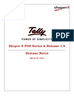Shoper 9 POS Series a Release 1.9 Release Notes | Tally Customization  | Tally Chennai  | Tally Data Connectivity