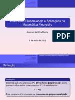 Grandezas Proporcionais e Aplicações na Matemática Financeira