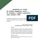 Análise quantitativa no estudo da variação linguística - noções de estatística e análise comparativa entre Varbrul e SPSS. Oliveira, Alan