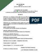 6 LEY 642 de 2001 (Mayores de Edad Universidad
