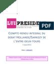 Débat Sarkozy/Hollande de l'entre-deux tours