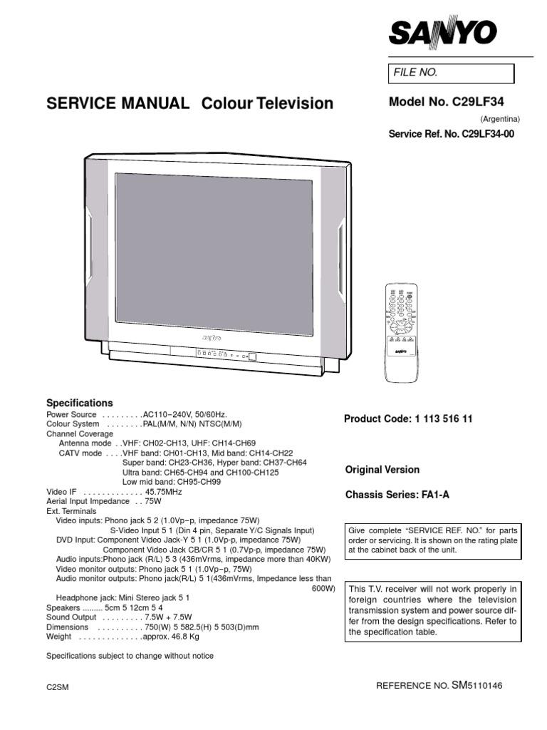5020647 Sanyo Service Manual TV C29LF34 Chassis FA1A