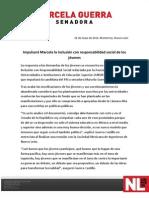 26-05-12 Impulsará Marcela la inclusión con responsabilidad social de los jóvenes