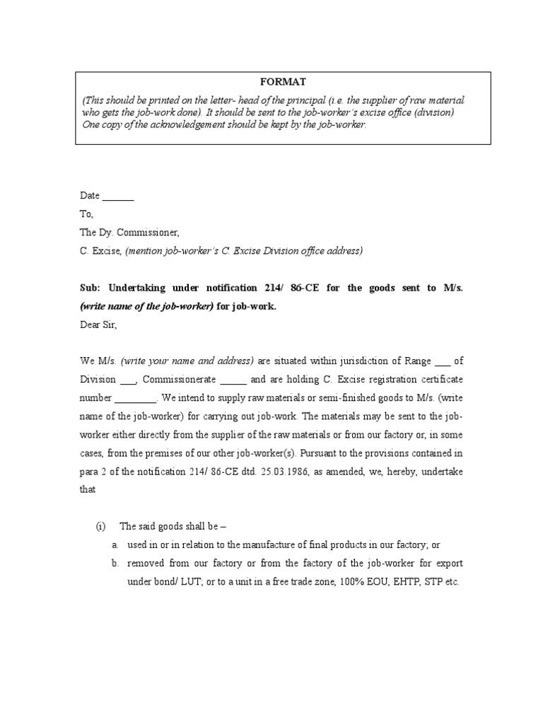 JobWork Declaration Under 21486 – Intimation Letter Format
