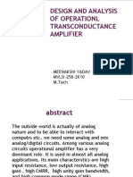 Design and Analysis of Operationl Trans Conductance Amplifier
