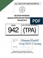 TPA SNMPTN 2010 Kode 942