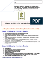 CSAT Syllabus for UPSC Prelims 2011
