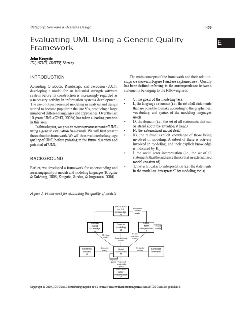 Evaluating uml using a generic quality framework unified modeling evaluating uml using a generic quality framework unified modeling language metaphor ccuart Gallery