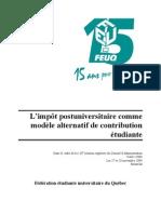FEUQ - L'impôt postuniversitaire comme modèle alternatif de contribution étudiante - novembre 2004