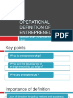Operational Definition of Entrepreneurship