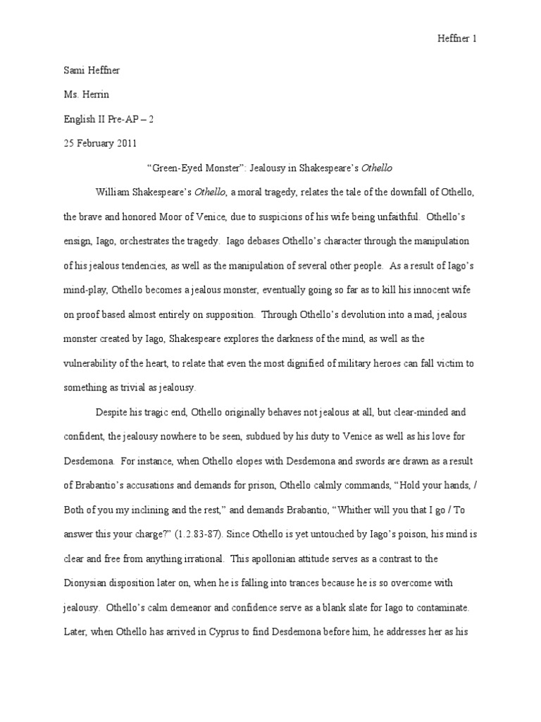 Othello Essay Final Draft  Othello  Iago  Essay Paper Help also Essay Writing Topics For High School Students  Theme For English B Essay