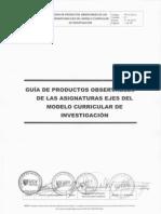 GUÍA DE PRODUCTOS OBSERVABLES DE LAS ASIGNATURAS EJES DEL MC DE INVESTIGACIÓNV01