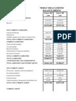 Nishat Balance Sheet and Income Statement