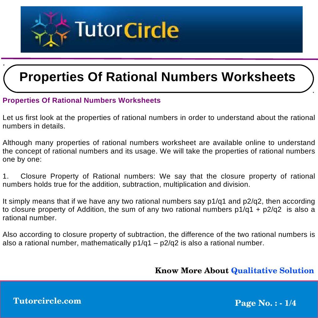 Worksheets Properties Of Numbers Worksheet properties of rational numbers worksheets multiplication algebra