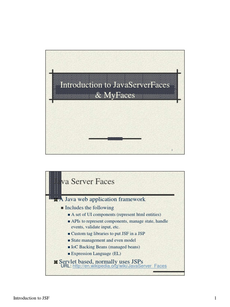 Java Server Faces | Java Server Faces | Java Server Pages