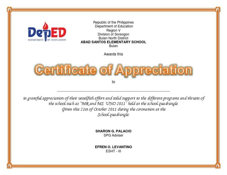 Certificate of appreciation uno yadclub Gallery